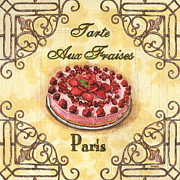 Red Strawberries Framed Prints - French Pastry 1 Framed Print by Debbie DeWitt