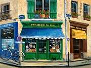 Shops Posters - French Pastry Shop Poster by Marilyn Dunlap