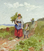Daniel Framed Prints - French Peasants on a Path Framed Print by Daniel Ridgway Knight