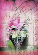 Paris Mixed Media Framed Prints - French Pink Heart Framed Print by Anahi DeCanio