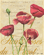 Old Mixed Media Metal Prints - French Pink Poppies 2 Metal Print by Debbie DeWitt