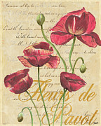 Antique Mixed Media Prints - French Pink Poppies Print by Debbie DeWitt
