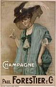 Champagne Posters - French Poster Advertising Champagne Poster by Photos.com