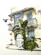 Homes Drawings Posters - French Quarter Crib Poster by D K Betts