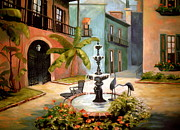 Garden Scene Paintings - French Quarter Fountain by Gretchen Allen