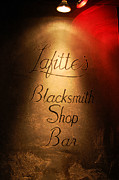 Lafittes Posters - French Quarter Illuminated Lafittes Blacksmith Shop Bar Sign New Orleans Accented Edges Digital Art Poster by Shawn OBrien