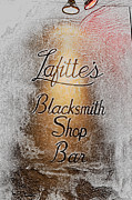 Lafittes Posters - French Quarter Illuminated Lafittes Blacksmith Shop Bar Sign New Orleans Colored Pencil Digital Art Poster by Shawn OBrien