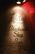 Lafittes Posters - French Quarter Illuminated Lafittes Blacksmith Shop Bar Sign New Orleans Diffuse Glow Digital Art Poster by Shawn OBrien