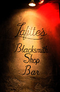 Lafittes Posters - French Quarter Illuminated Lafittes Blacksmith Shop Bar Sign New Orleans Ink Outlines Digital Art Poster by Shawn OBrien