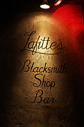 Lafittes Posters - French Quarter Illuminated Lafittes Blacksmith Shop Bar Sign New Orleans Poster Edges Digital Art Poster by Shawn OBrien