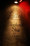 Lafittes Posters - French Quarter Illuminated Lafittes Blacksmith Shop Bar Sign New Orleans Poster by Shawn OBrien