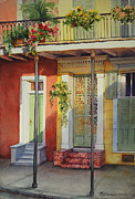Historic Architecture Paintings - French Quarter Neighbors by Sue Zimmermann