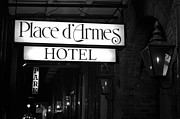 French Quarter Photos - French Quarter Place dArmes Hotel Sign and Gas Lamps New Orleans Black and White by Shawn OBrien
