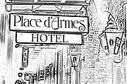 Photocopy Metal Prints - French Quarter Place dArmes Hotel Sign and Gas Lamps New Orleans Photocopy Digital Art Metal Print by Shawn OBrien