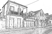Photocopy Prints - French Quarter Tavern Architecture New Orleans Black and White Photocopy Digital Art Print by Shawn OBrien