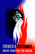 France Mixed Media Metal Prints - French Resistance Helps Throttle The Boche Metal Print by War Is Hell Store