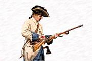 French And Indian War Prints - French Soldier Reloading Musket Print by Randy Steele
