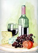 Wine-glass Paintings - French tradition by Alban Dizdari