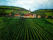 Grape Vines Prints - French Village in the Vineyards Print by Nancy Mueller
