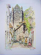 Original Etching Drawings Prints - French Village Print by R  Cervenka