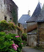 Charming Cottage Prints - French Village Walkway Print by Carla Parris