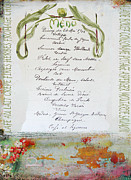 Calligraphy Prints - French Vintage Menu Abstract Print by adSpice Studios