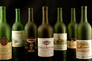 French Wine Bottles Prints - French wine labels Print by David Campione