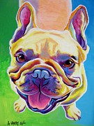 Custom Dog Portrait Paintings - Frenchie - Ernest by Alicia VanNoy Call