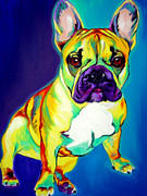 Dawgart Metal Prints - Frenchie - Tugboat Metal Print by Alicia VanNoy Call