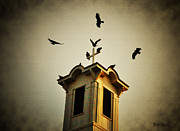 Vulture Digital Art Posters - Frenchtown Steeple Poster by Bill Cannon