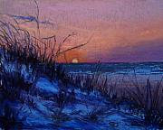 Sunset Seascape Pastels Posters - Frenchys Sunset Poster by Susan Jenkins