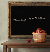Drop Framed Prints - Fresh apples on wooden table with blackboard Framed Print by Sandra Cunningham