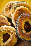 Variety Framed Prints - Fresh bagels Framed Print by Elena Elisseeva