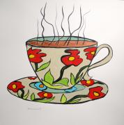 Coffee Mug Drawings Prints - Fresh Cup Print by John  Williams