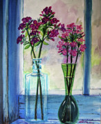 Phlox Painting Prints - Fresh Cut Flowers In The Window Print by Patricia L Davidson