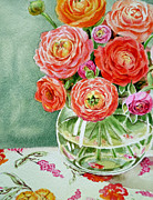 Watercolor By Irina Posters - Fresh Cut Flowers Poster by Irina Sztukowski