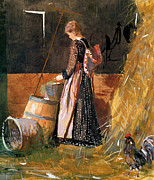 Hen Paintings - Fresh Eggs by Winslow Homer