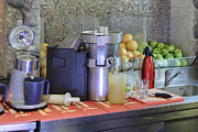 Fresh Produce Prints - Fresh Fruit Juice Making Corner In Bar Print by Magomed Magomedagaev
