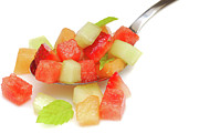 Cantaloupe Photo Prints - Fresh fruit salsa Print by David Smith