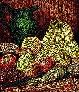 Banquet Digital Art Framed Prints - Fresh Fruit Tiled Framed Print by Stephen Lucas