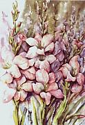 Gladiolas Painting Framed Prints - Fresh Gladiolas Framed Print by Marta Styk