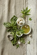 Olive Oil Framed Prints - Fresh Ingredients With Marijuana Framed Print by Lew Robertson/Fuse