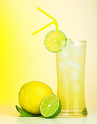Juice Posters - Fresh lemon juice Poster by Anna Omelchenko