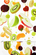 White Grape Prints - Fresh Mixed Fruit With Apple & Orange Juice Print by Andrew Bret Wallis