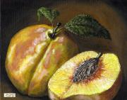 Harvest Art Prints - Fresh Peaches Print by Adam Zebediah Joseph