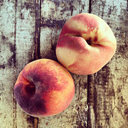 Peaches Prints - Fresh Peaches on Wood Background Print by Ruby Hummersmith