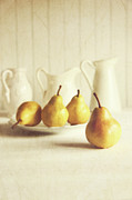 Fresh Fruit Posters - Fresh pears on old wooden table Poster by Sandra Cunningham