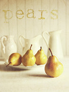 Perfect Metal Prints - Fresh pears on old wooden table with vintage feeling Metal Print by Sandra Cunningham