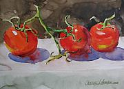 Tomatos Painting Metal Prints - Fresh Picked Metal Print by Sharon Lehman