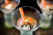 Shot Glass Prints - Fresh Raw Oyster Shooters Print by Lara Hata